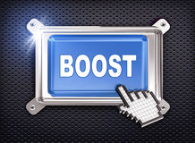 3d button hand cursor - boost. 3d illustration of hand cursor pointer and chrome button presentation of concept of boost Royalty Free Stock Photo
