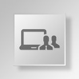 3D  IT Button Icon Concept. 3D Symbol Gray Square IT Button Icon Concept Royalty Free Stock Images