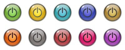 3D Button icon Power Start Multicolor. 3D power Start button icon sing simbol multicolor green, yellow, blue, golden, brown, silver, orange, red, purple, pink Stock Photos