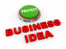 3d button protect business ideas Royalty Free Stock Image