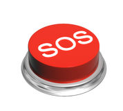 3d button of red color with inscripation SOS. Button of red color with inscripation SOS. Object isolated on white background. 3d render Royalty Free Stock Images