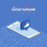 3D button of social networks in isometric in smartphone. Icon of social network thumb to the top. Vector illustration EPS 10 Royalty Free Stock Image