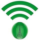 3D button. Transmitter sends information signals. 3D model, button. Digital transmitter sends information signals Stock Images