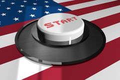 3D The button is white with the word START on the background of the American flag. vector illustration