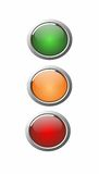 3D buttons green, orange and red Stock Photography