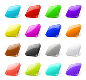 3d buttons. Set of 3d colored square buttons with different reflactions Royalty Free Stock Image