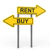 3D buy or rent arrow sign board. 3D render of buy or rent arrow sign board Stock Photography