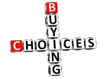 3D Buying Choices Crossword. On white backgound Stock Photo