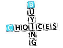 3D Buying Choices Crossword. On white backgound Royalty Free Stock Photo