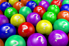 3D buzzword, question marks, balls... Royalty Free Stock Images