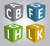 3D cúbico com caráter de ABC, 3d vetor, vetor cúbico Foto de Stock
