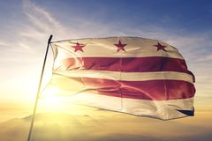 d c domu white Waszyngton C Dystrykt Kolumbii Stany Zjednoczone flagi tkaniny tekstylny sukienny falowanie na odgórnej wschód sło obrazy royalty free