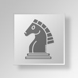 3D caballero Button Icon Concept Libre Illustration