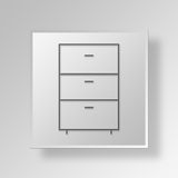 3D Cabinet icon Business Concept. 3D Symbol Gray Square Cabinet icon Business Concept Stock Photos