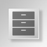 3D Cabinet icon Business Concept. 3D Symbol Gray Square Cabinet icon Business Concept Royalty Free Stock Photos