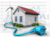 3d cable over diagram. 3d illustration of wind energy house with cable over diagram background Stock Image