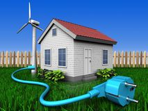 3d cable over lawn and fence. 3d illustration of wind energy house with cable over lawn and fence background Royalty Free Stock Images