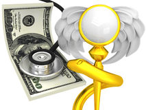 3D Caduceus Medical Symbol with dollar Stock Photography