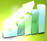 3d cahrt success. Chart 3d success light colors and big arrow Stock Photo