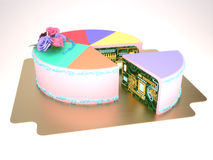 3d cake. 3d pie chart cake with electric board Royalty Free Stock Photos