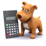 3d Calculating puppy. 3d render of a dog next to a calculator Stock Photo