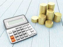 3D Calculator with coins. 3D Illustration. Calculator with coins. Financial concept Stock Images