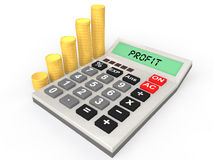 3d calculator and coins stacks Stock Photos