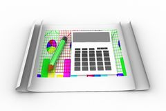 3d calculator with graph infographics and pencil Royalty Free Stock Image
