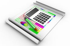 3d calculator with graph infographics and pencil Stock Photos
