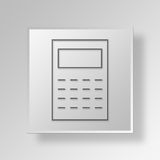 3D Calculator icon Business Concept. 3D Symbol Gray Square Calculator icon Business Concept Stock Image