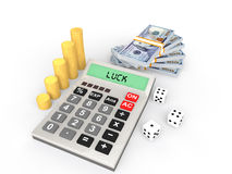 3d calculator with money and dices Royalty Free Stock Photography