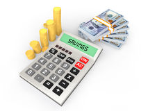 3d calculator and money Royalty Free Stock Photo