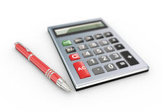 3d calculator and pen Royalty Free Stock Images