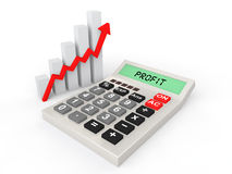 3d calculator and rising profit graph Stock Images