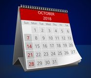 3d calendar on blue. 3d illustration of monthly calendar on blue, 2018 october page Stock Image