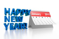 3D 2015 CALENDAR and HAPPY NEW YEAR wishes... Royalty Free Stock Image