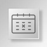 3D Calendar icon Business Concept. 3D Symbol Gray Square Calendar icon Business Concept Royalty Free Stock Photos