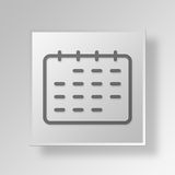 3D Calendar icon Business Concept. 3D Symbol Gray Square Calendar icon Business Concept Royalty Free Stock Image