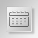 3D Calendar icon Business Concept. 3D Symbol Gray Square Calendar icon Business Concept Stock Photography