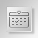 3D Calendar icon Business Concept. 3D Symbol Gray Square Calendar icon Business Concept Stock Image