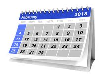 3d calendar. 3d illustration of month calendar over white, 2018 february page Royalty Free Stock Photography
