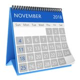 3d calendar. 3d illustration of square desktop calendar isolated, november 2018 page Stock Photography