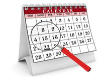 3D calendar and magnifying glass. Computer generated image. White background Royalty Free Stock Photography