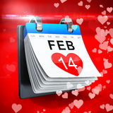 3D calendar showing valentine's day Stock Images