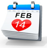 3D calendar showing valentine's day Royalty Free Stock Images