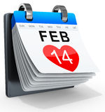 3D calendar showing valentine's day. On white background vector illustration