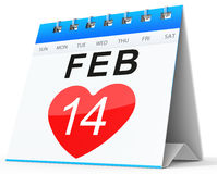 3D calendar showing valentine's day Stock Image