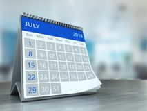 3d calendar on table. 3d illustration of calendar over office background, july 2018 page Stock Images