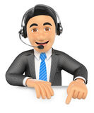 3D Call center employee pointing down. Blank space Royalty Free Stock Images