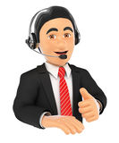 3D Call center employee with thumb up. 3d business people illustration. Call center employee with thumb up. Isolated white background Stock Photo